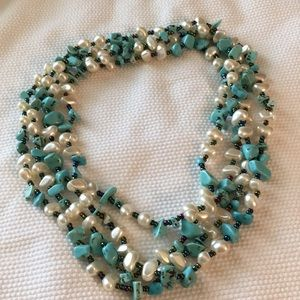 "Jewelry - Long nugget and ""pearl "" necklace"